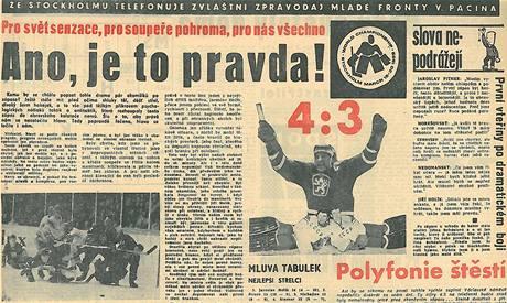 Noviny před 40 lety: Hokejové vítězství nad SSSR