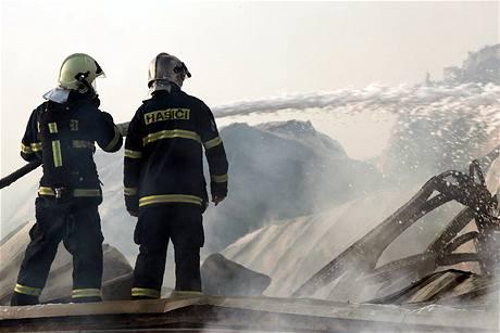 Během požáru se zhruba polovina hal zřítila.