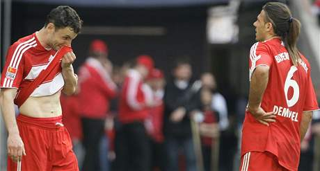 Hráči Bayernu Mnichov po prohraném utkání