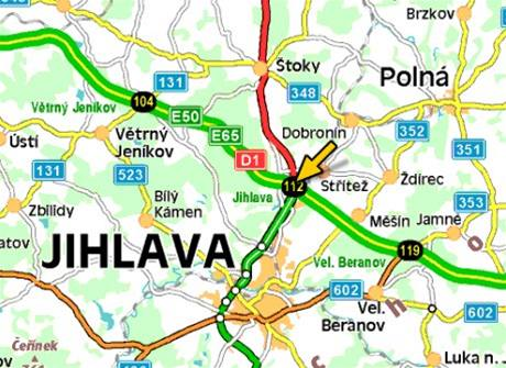 mapa - nehoda na 112. kilometru D1