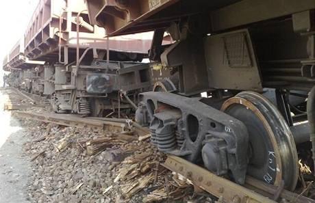 Vykolejený vlak v Čerčanech