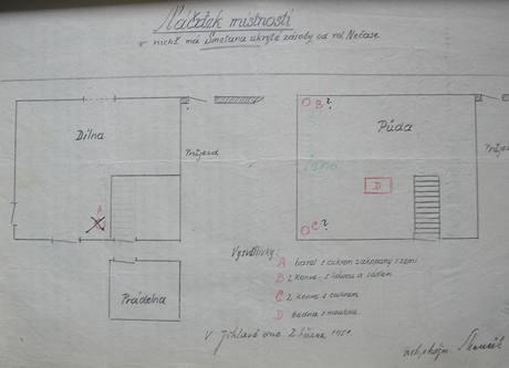 Náčrtek - jeden z mnoha, které Smetana pro Marečka udělal