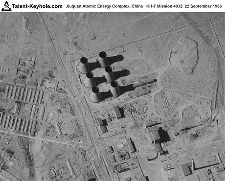 Atomový komplex v Ťiou-čchüanu, jak ho 22. září 1966 zachytila družice KH-7