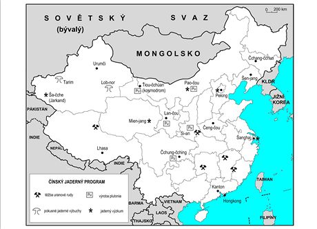 Mapa hlavních čínských atomových středisek