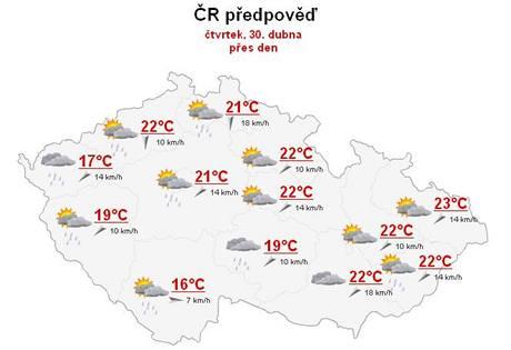 Předpověď počasí na čtvrtek 30. dubna.
