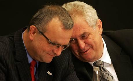 Miroslav Kalousek a Miloš Zeman na konferenci