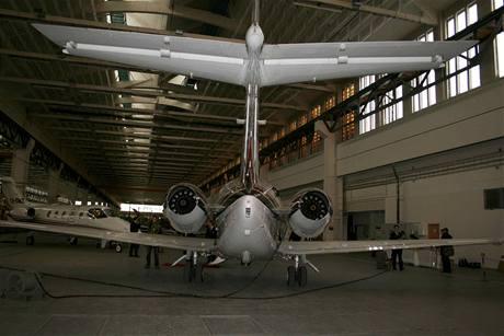 Zadní část letadla Hawker 800XP
