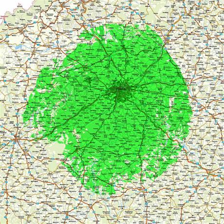 Dosah DVB-T vysílání z vysílače Cukrák