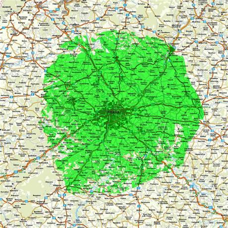 Dosah DVB-T vysílání z vysílače Praha Žižkov