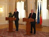 Premiér Topolánek s moldavským prezidentem Voroninem