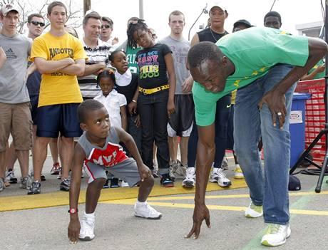 Usain Bolt v Bostonu při sponzorské akci,