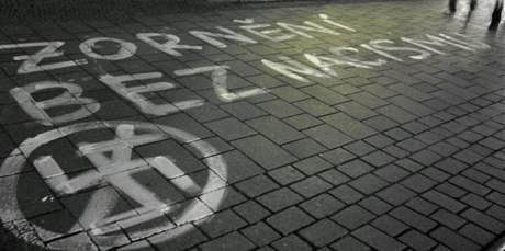 Antifašistické nápisy v Brně