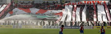 Choreo fanoušků 1. FC Brno na utkání se Slávií Praha