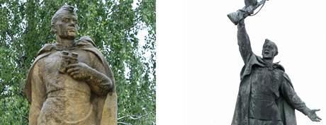Sochy rudoarmějců v Lanžhotě a ve Znojmě