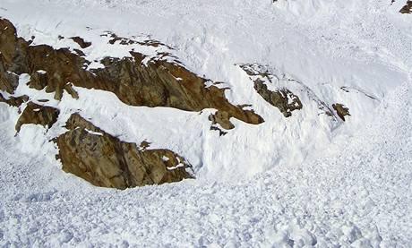 Pohled na laviniště ze spoda.
