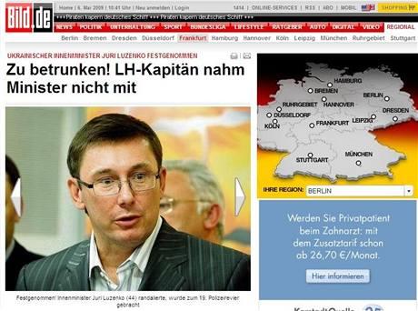O případu ukrajinského ministra informoval německý deník Bild