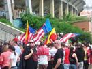 Pochod zbrojováků Brnem - stadion za Lužánky
