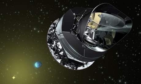 Vizualizace družice Planck ve vesmíru