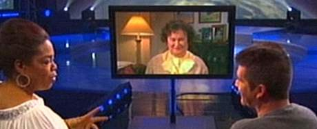 Oprah Winfreyová a Simon Cowell v Oprah Winfrey Show
