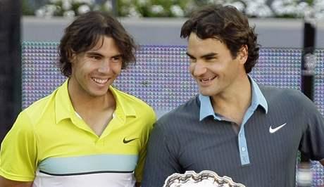 Rafael Nadal a vítěz madridského turnaje Roger Federer