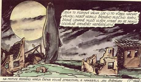 Ukázka z komisku Válka s mloky podle Karla Čapka