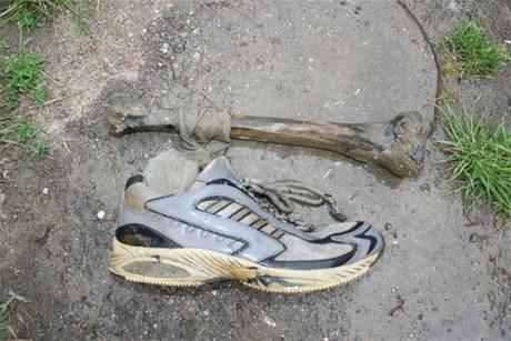 Lidské ostatky nalezené ve čtvrtek bagristiou u Kunovic.