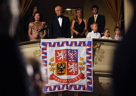 Zahájení Pražského jara 2009 sledoval Václav Klaus s rodinou