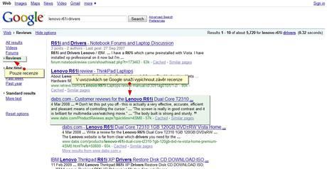 Google hledání pouze v recenzích