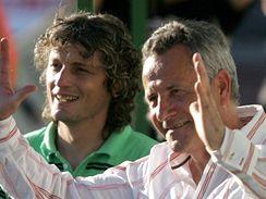 Jablonec - Příbram: domácí trenéři František Komňacký (vpravo) a Jozef Weber
