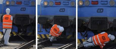 Náraz vlaku do figuríny na okruhu u Velimi (25. května 2009)