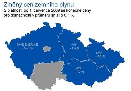 Mapa ČR s cenami plynu společnosti RWE Transgas pro 3. čtvrtletí 2009.