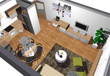 Obývací kuchyně v novostavbě pro mladý pár