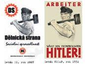 Letáky Dělnické strany a NSDAP.