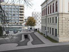 Parkovací dům v Panenské ulici - vjezd z Husovy ulice