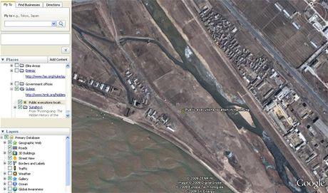 Místo konání veřejných poprav - Severní Korea v Google Earth
