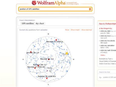 Wolfram Alpha - poloha GPS satelitů