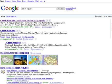 Google - mapy, zprávy