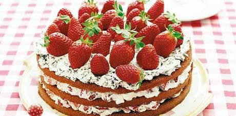 Jahodový dort se smetanou a čokoládou