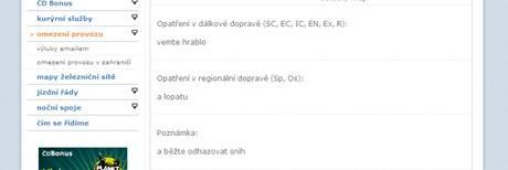 Webové stránky Českých drah - testovací verze