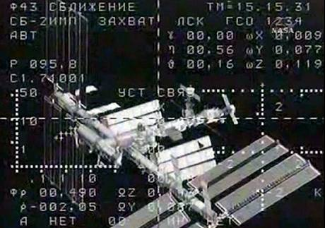 Stanice ISS na navigačním displeji ruského Sojuzu