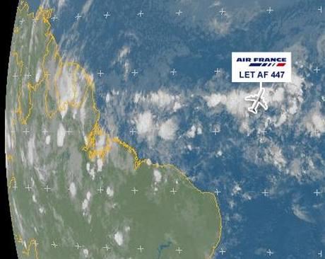 Ztracený airbus a meteorologický snímek Eumetsatu