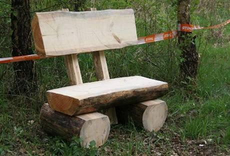 Pohodlnou lavičku ze silného kmene zvládnete s pomocí motorové pily vyrobit zhruba za dvě a půl hodinky.
