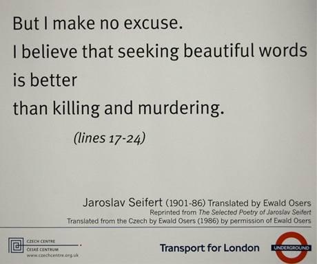 Báseň Jaroslava Seiferta v londýnském metru