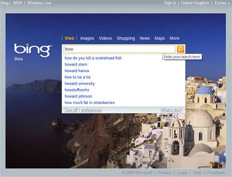Bing - homepage s našeptávačem