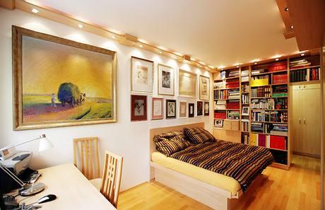 Ložnice s pracovním stolem a knihovnou
