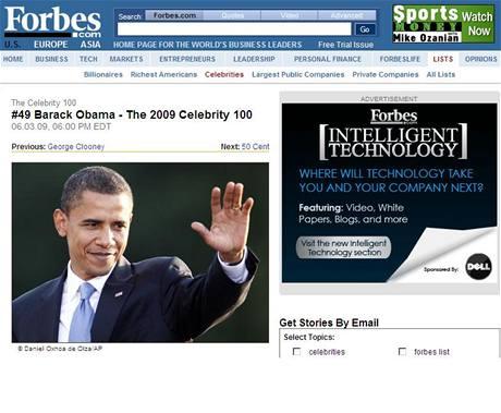 Barack Obama obsadil v žebříčku Forbesu 49. místo