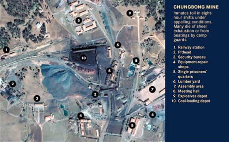 Jeden ze severokorejských vězeňských táborů na satelitním snímku