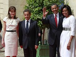 Barack Obama s Nicolasem Sarkozym a manželkami Carlou Bruniovou a Michelle Obamovou