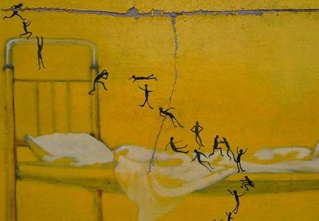 Konstantin Sulaberidze: Koika in the Psychiatric Hospital; 2001, olej na plátně (výřez). Dílo gruzínského malíře.