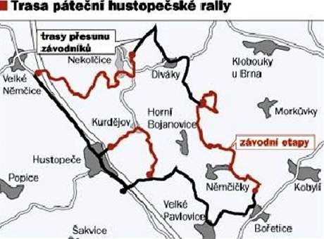 Trasa Agrotec Rally v okolí Hustopečí